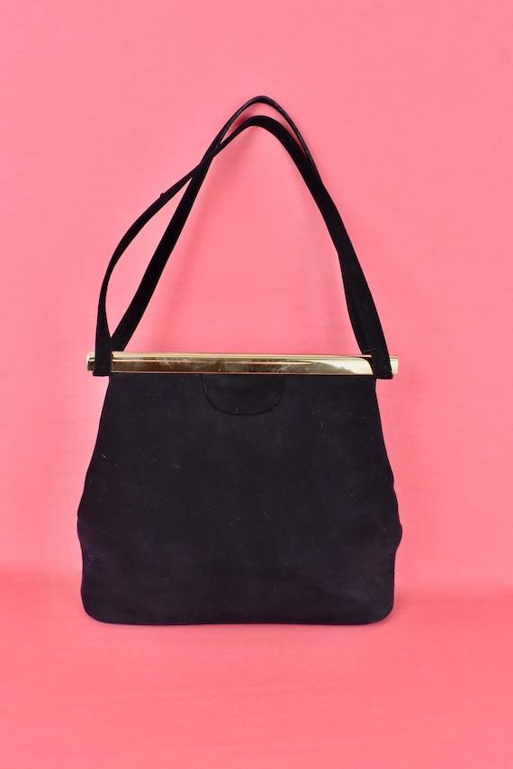 1950s  KORET Black Suede  Handbag........ - image 5