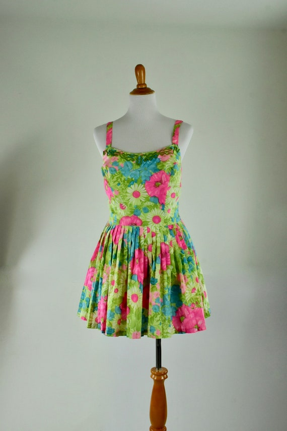 1960s  GABAR  Floral Swimsuit / Playsuit / Romper