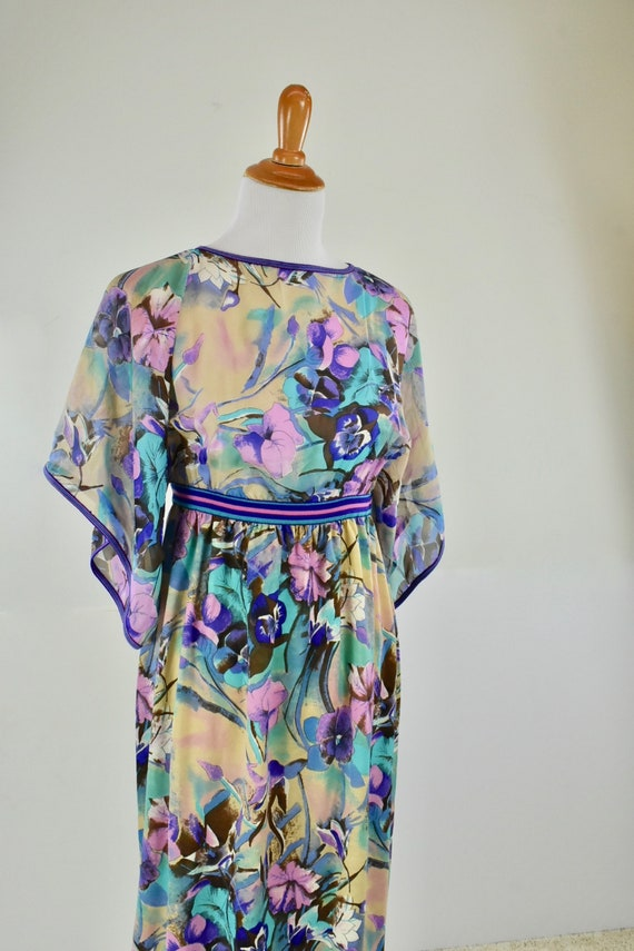 1960/70s GOLDWORM Floral  Long Dress .....Silk & M