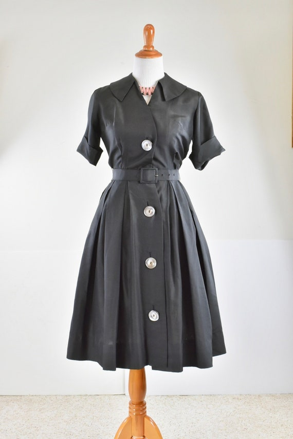 1950/60s Black Silk Button Down Shirtwaist Dress … - image 1