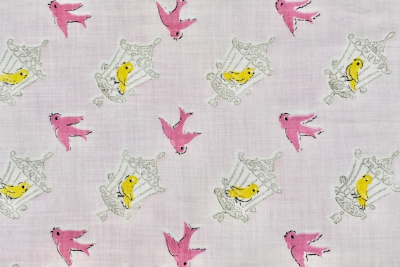 1950s PINK  Novelty Handkerchief of Tweetie Birds