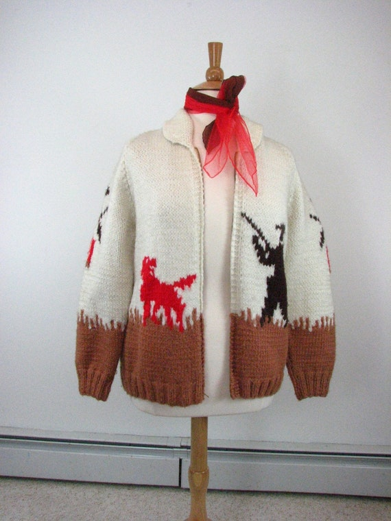 1950s Hand Knit Wool  Sweater with  Hunting Theme