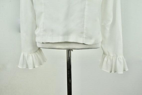 1960/70s  White Ruffled Chiffon Blouse .........s… - image 7