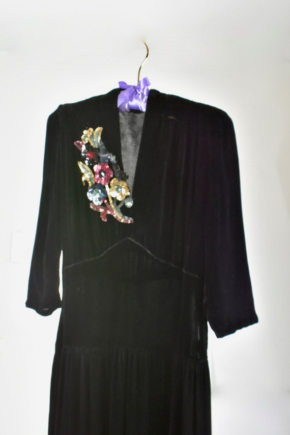 1940s Black Silk Velvet Gown with SEQUIN CORSAGE..