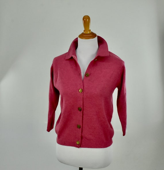 1950s Cashmere Raspberry Heather  Sweater... Ball… - image 2