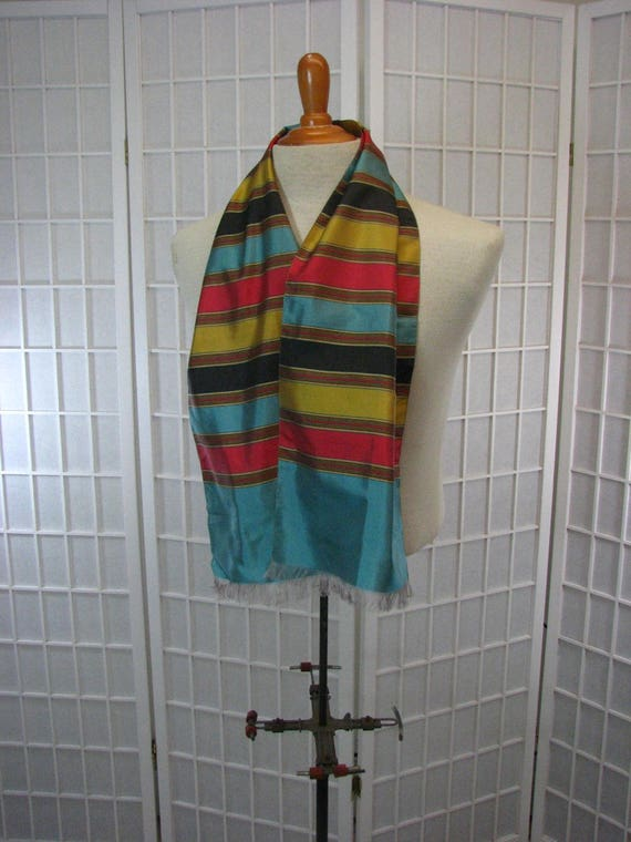 Vintage Mens Silk Striped  Coat Scarf  / Table Run