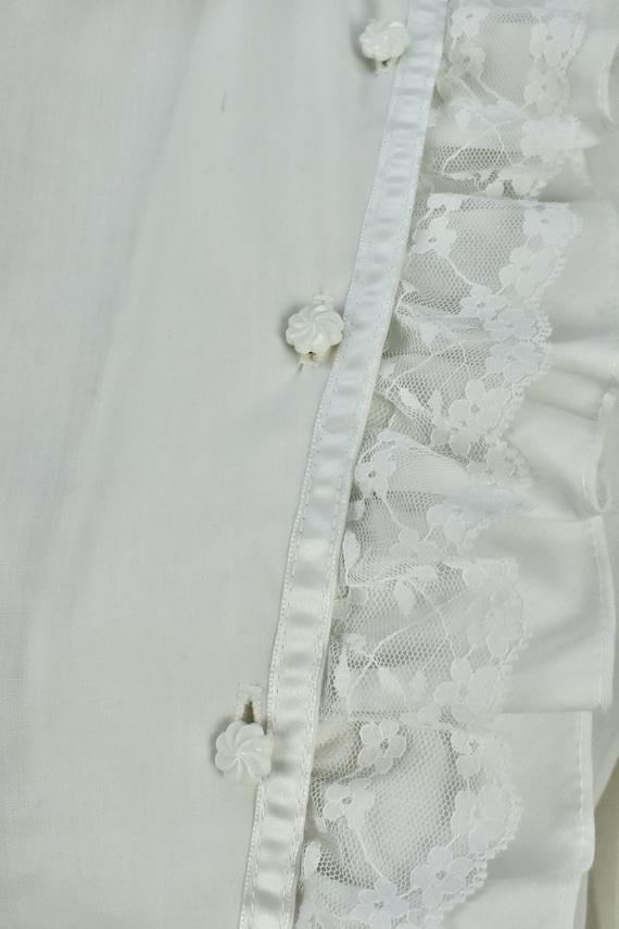 1960/70s  White Ruffled GRANNY  Blouse by MISS FA… - image 3