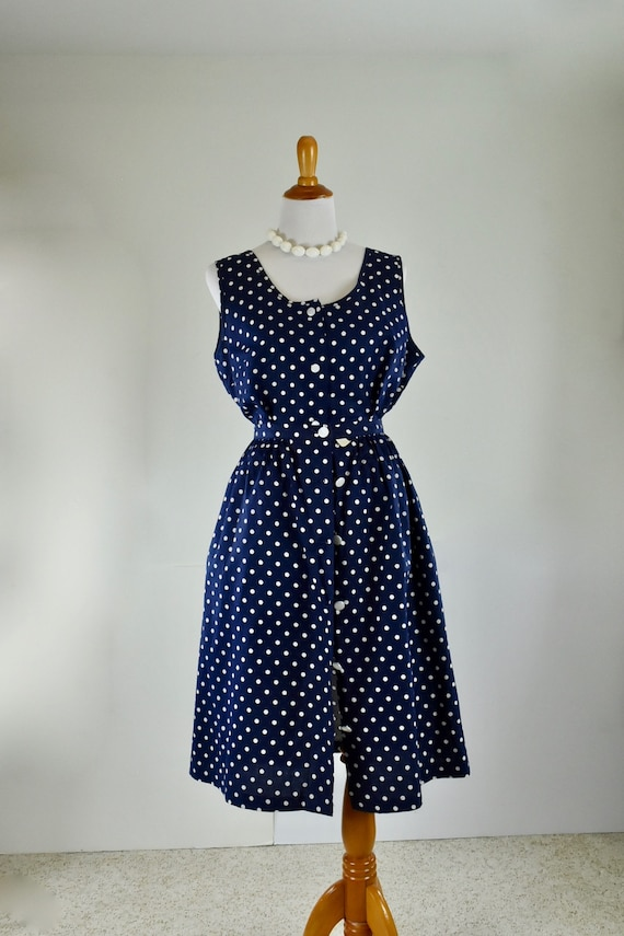 1960/70s  Playsuit &  Skirt in Navy and White POLK