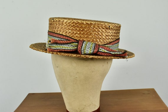 Antique Straw Boater by WINFIELD ....... size Smal