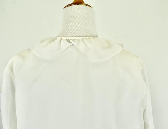1960/70s  White Ruffled Chiffon Blouse .........s… - image 6