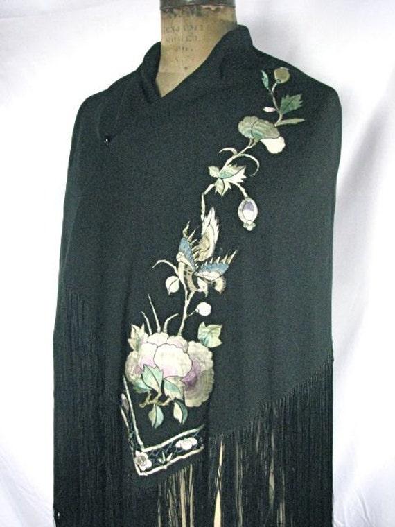 1920s  Crepe Silk Black Oversized Shawl with Appli