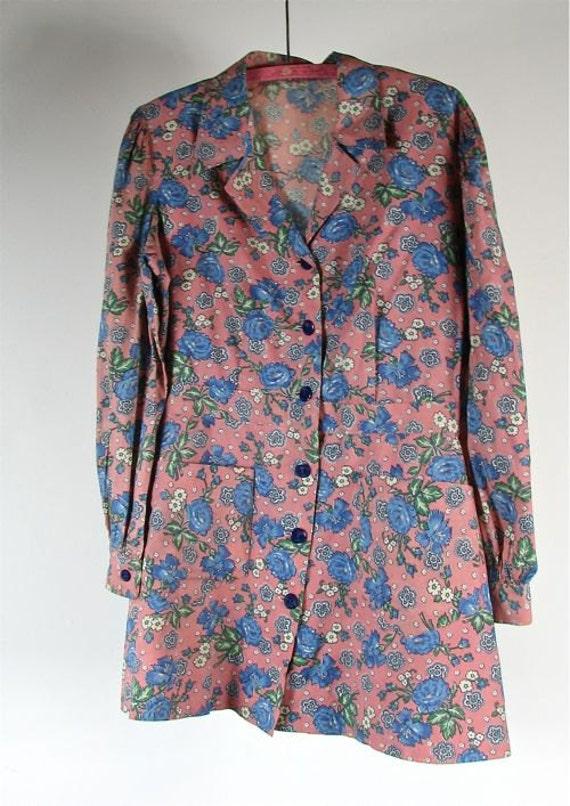 1940s Cotton  Floral Jacket.......size Large......