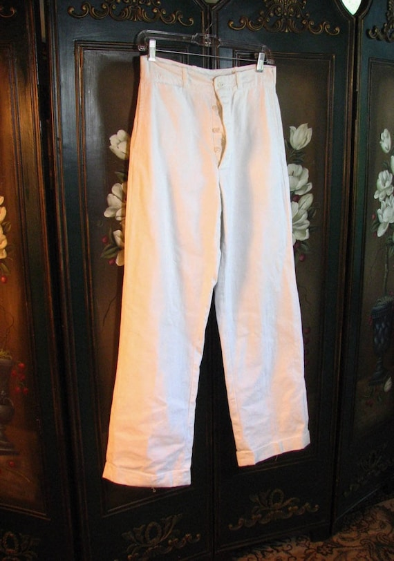 1930s Mens White Sanforized Cotton Trousers......s