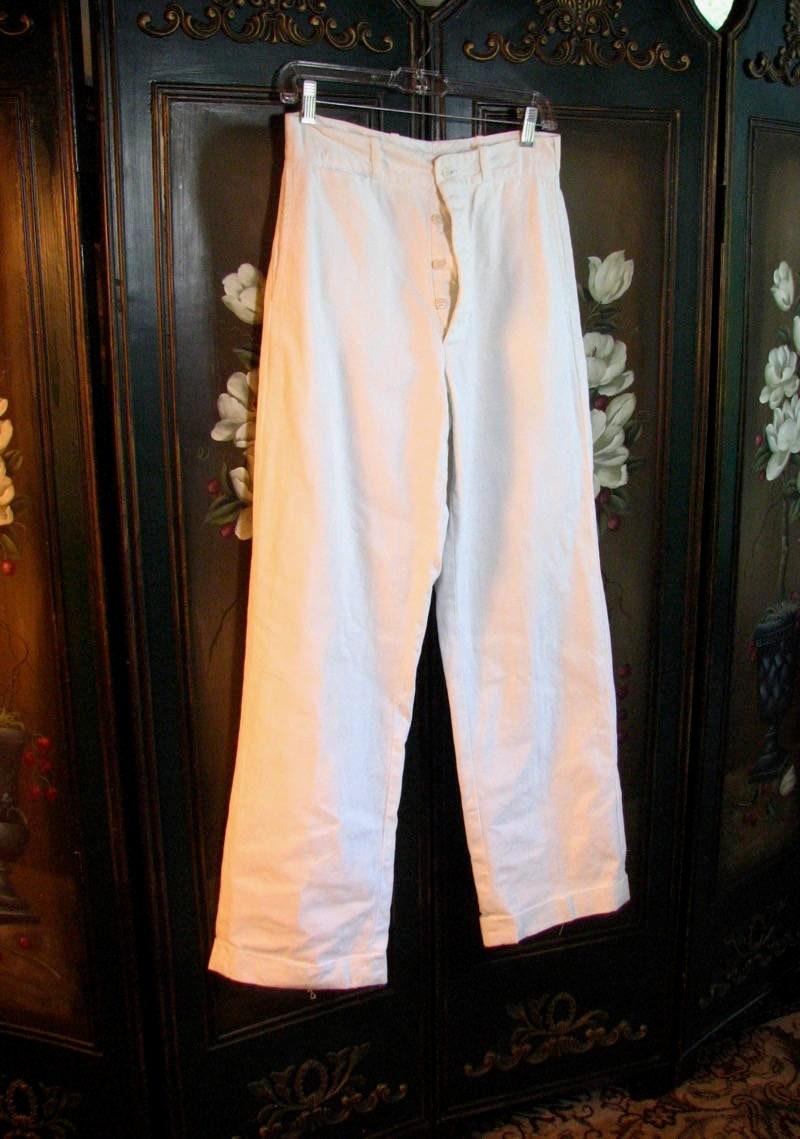 New 1930s Mens Fashion Ties 1930S Mens White Sanforized Cotton Trousers......size Medium $0.00 AT vintagedancer.com