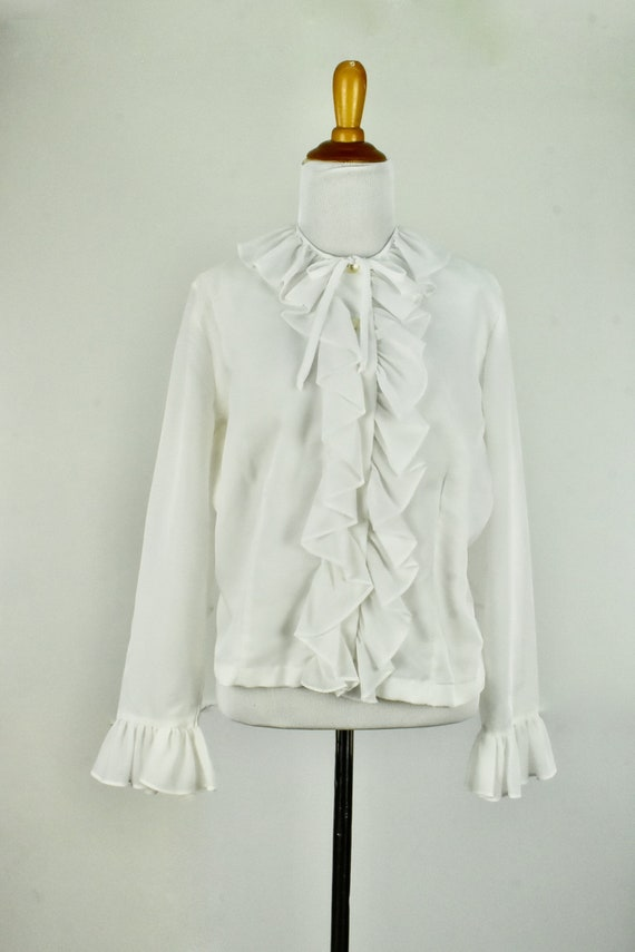 1960/70s  White Ruffled Chiffon Blouse .........si