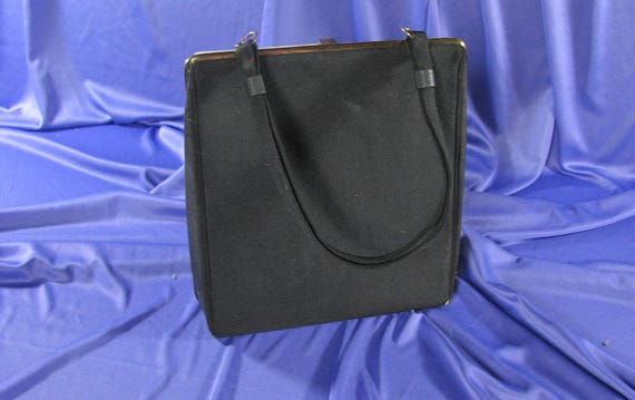 1950s Black Faille Handbag with Pearlescent Rosey… - image 4