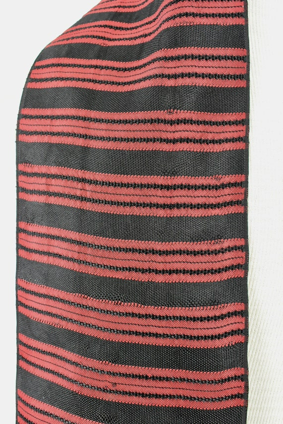 1930/40s Men's Woven Silk  Coat Scarf in Red & Bl… - image 5