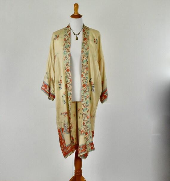 1920s Silk Pongee  Asian Kimono Robe .....VIBRANT