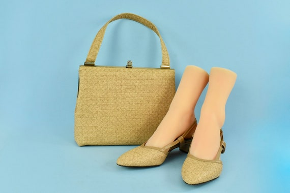 1960s Matching Woven Straw Slingback Heels by OMPH