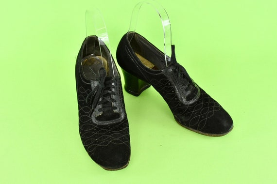 1930s Black Perforated  Suede & Leather Oxfords...
