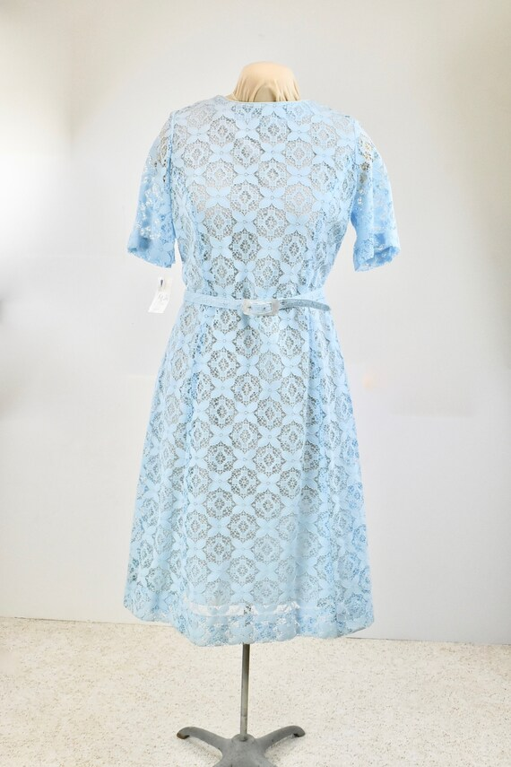 1960s Nelly Don Blue Lace Dress .... New Old Stock