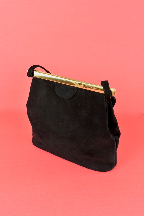 1950s  KORET Black Suede  Handbag........ - image 7
