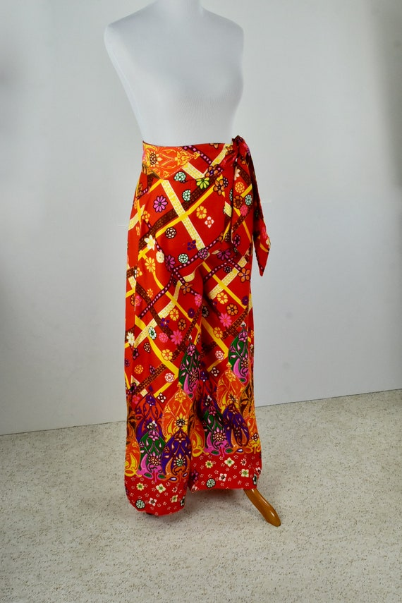 1960/70s Palazzo Psychedelic Pants with Tie Belt.… - image 2
