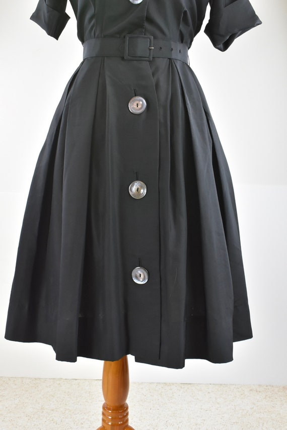 1950/60s Black Silk Button Down Shirtwaist Dress … - image 3