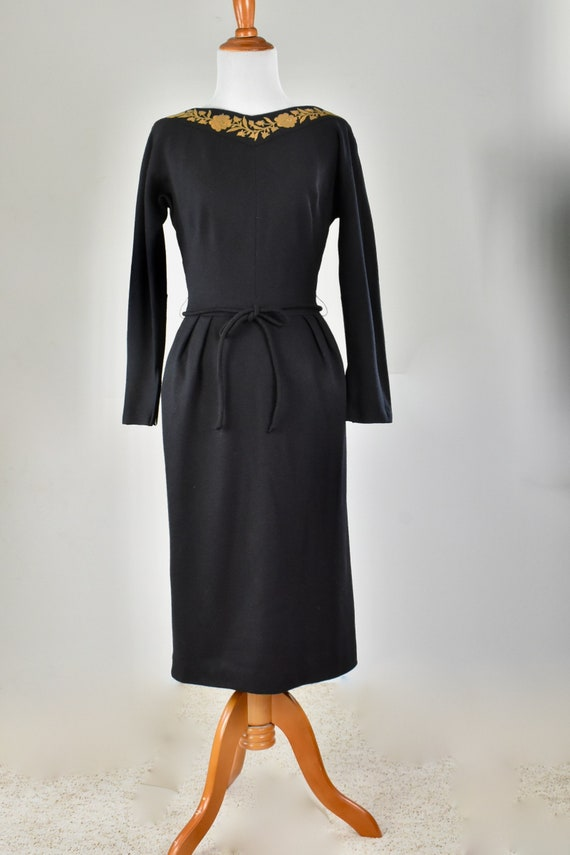 1950s YOUTH GUILD  Black Knit Wiggle Dress with Ha