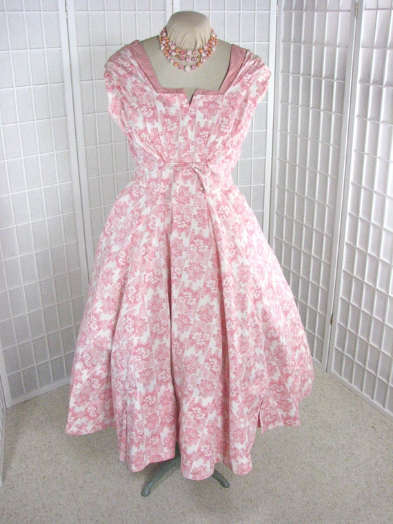 1950s Pink ROCKABILLY Cotton Sun Dress by Marjae o