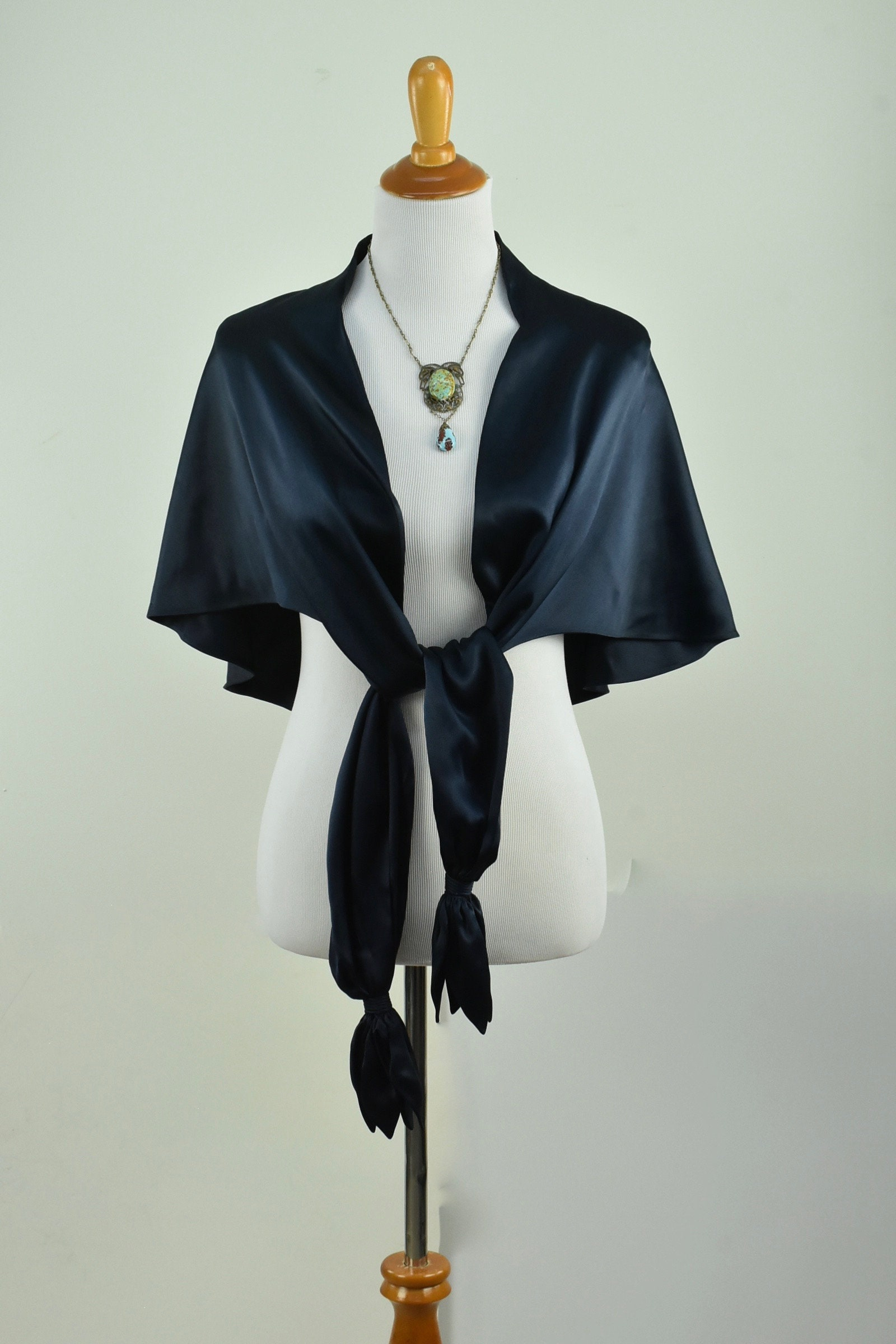 1930s Art Deco Style Jewelry 1930S Reversible Navy Blue Satin Cape With Petaled Tassels...........size Small To Medium $20.00 AT vintagedancer.com