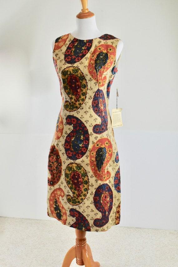1960s  MOD  Linen Paisley Print Dress ......New Ol