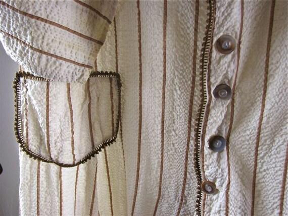 Edwardian Seersucker Day Dress/Robe   size Medium - image 3