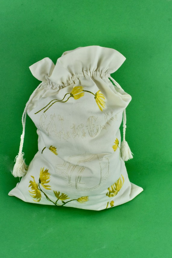 EDWARDIAN Embroidered Homespun  Linen Drawstring B