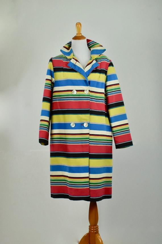 1960s  MOD Multi-Color Striped Coat ......size LA… - image 1
