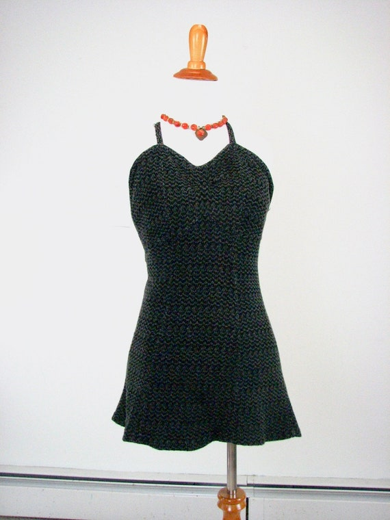 1930s Grey &  Black Knit Swimsuit...,.......... SE