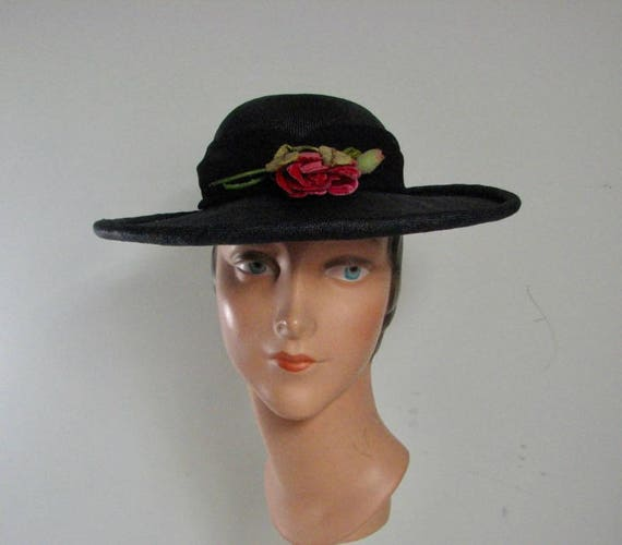 1930s Navy Straw Hat with Pink Velvet Rose Trim,,,