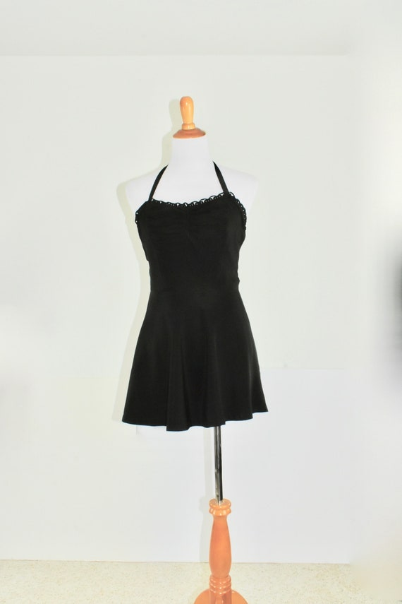 1950s Black BACKLESS Swimsuit / Playsuit / Romper.