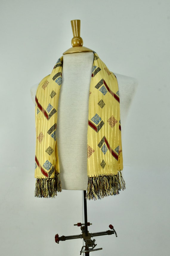 1930s Mens Art Deco Rectangular Coat  Scarf with F