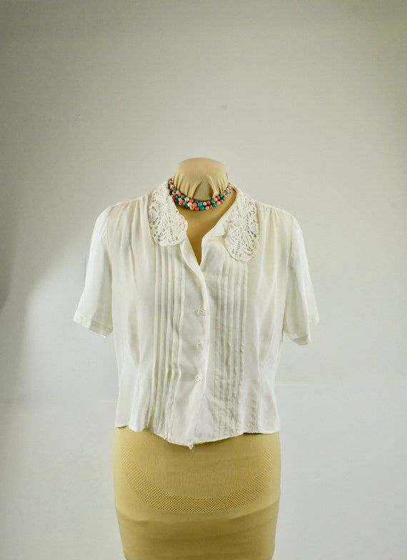 1950s ROCKABILLY  White Rayon Blouse with Pin Tuck