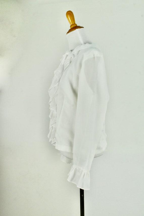 1960/70s  White Ruffled Chiffon Blouse .........s… - image 4