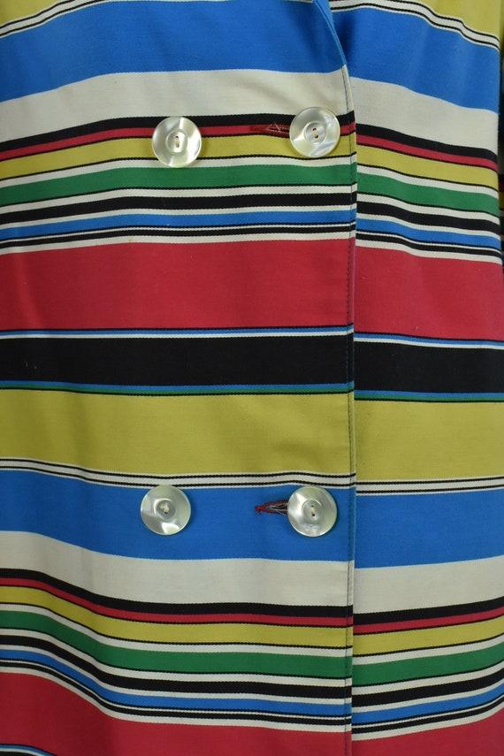1960s  MOD Multi-Color Striped Coat ......size LA… - image 2