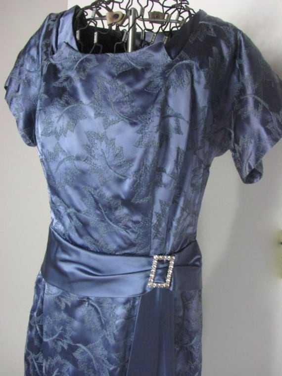 1950s  Embroidered Blue Satin Cocktail / Party Dre