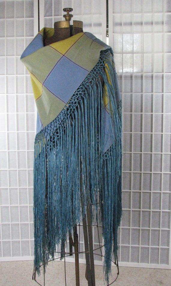 1930s Stunning Antique Plaid Wool Shawl with Silk