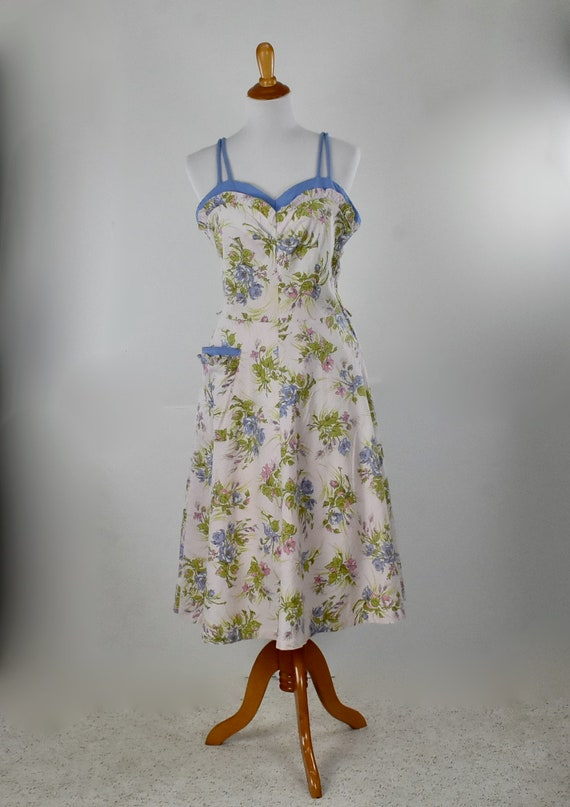 1940s Floral Cotton Sundress in Pink & Periwinkle