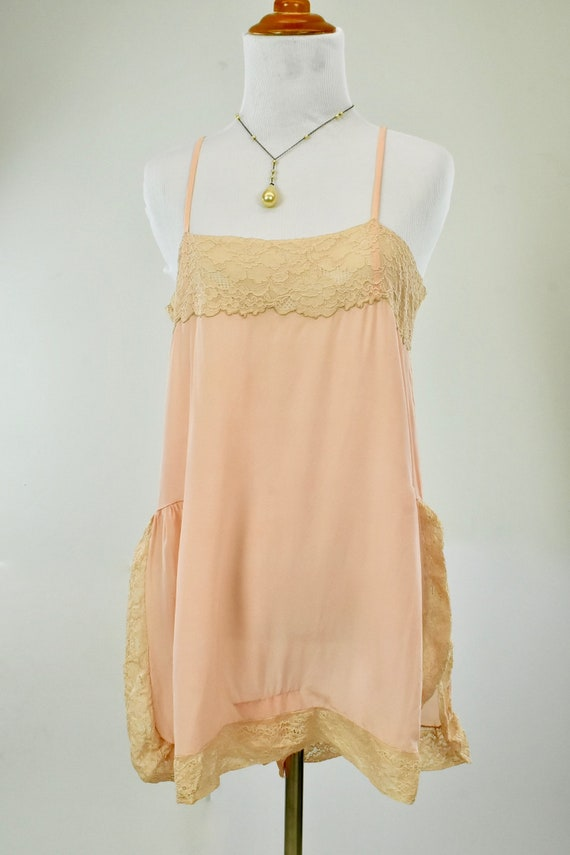 1920s Peach  Silk Step In Chemise... with HAND MAD