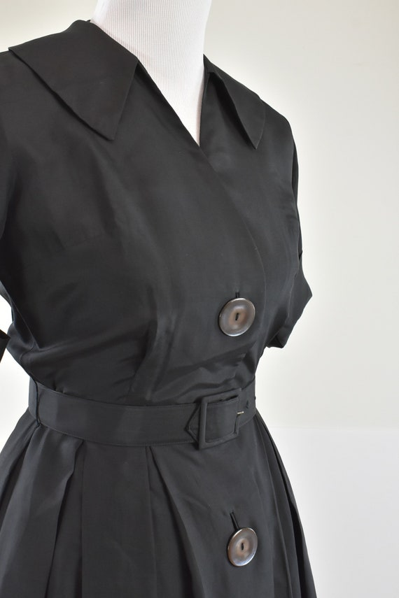 1950/60s Black Silk Button Down Shirtwaist Dress … - image 2