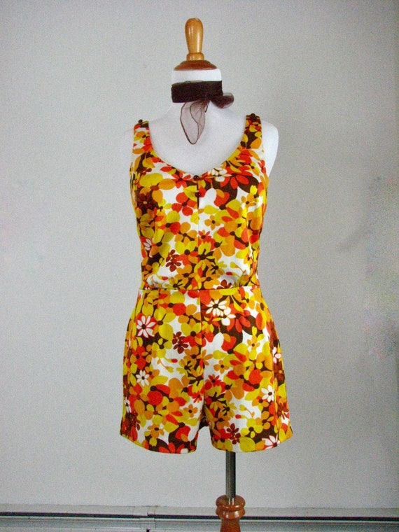 1960/70s MOD  Polyester Knit Swimsuit / Playsuit