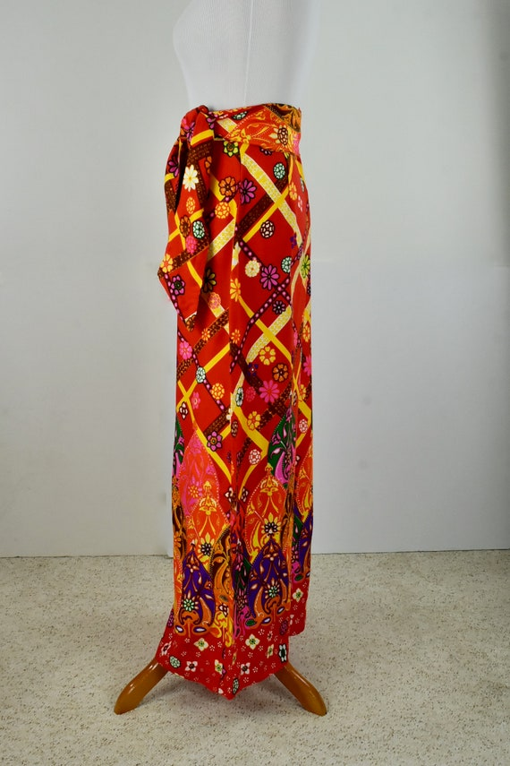 1960/70s Palazzo Psychedelic Pants with Tie Belt.… - image 6