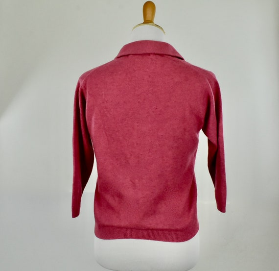 1950s Cashmere Raspberry Heather  Sweater... Ball… - image 4